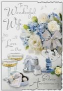 Wonderful Wife Silver Wedding Anniversary Card